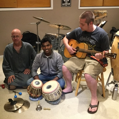 Cherag Michael Douglas, Mangesh, and Bryce taking a break from recording the first United Village CD.